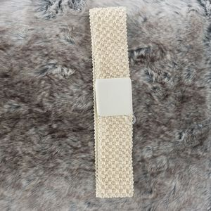 Tan Stretch Square Buckle Woven Belt